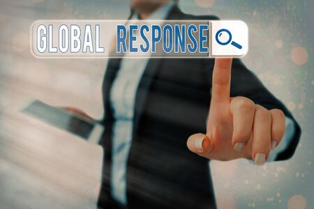 Conceptual hand writing showing Global Response. Concept meaning indicates the behaviour of material away from impact point Banque d'images