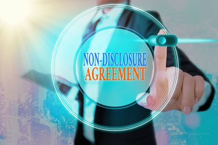 Conceptual hand writing showing Non Disclosure Agreement. Concept meaning Legal Contract Confidential Material or Information