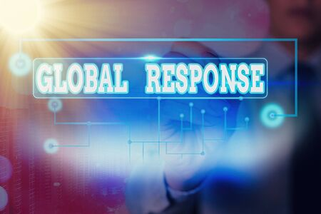 Text sign showing Global Response. Business photo text indicates the behaviour of material away from impact point Stock fotó