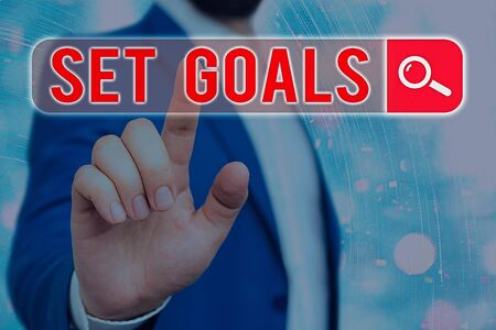 Text sign showing Set Goals. Business photo showcasing Defining or achieving something in the future based on plan