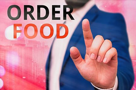Text sign showing Order Food. Business photo showcasing the process of requesting a preferred food in a restaurant Stock Photo