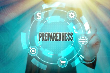Writing note showing Preparedness. Business concept for quality or state of being prepared in case of unexpected events Reklamní fotografie