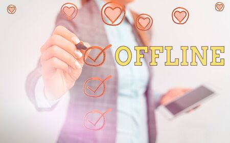 Text sign showing Offline. Business photo showcasing Not having directly connected to a computer or external network