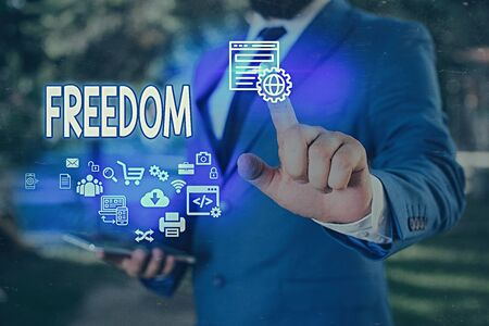 Word writing text Freedom. Business photo showcasing liberty rather than in confinement or under physical restraint