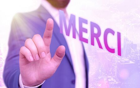 Text sign showing Merci. Business photo showcasing what is said or response when someone helps you in France Thank you