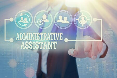 Conceptual hand writing showing Administrative Assistant. Concept meaning Administration Support Specialist Clerical Tasks
