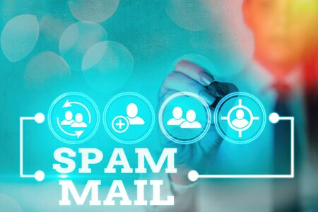 Writing note showing Spam Mail. Business concept for Intrusive advertising Inappropriate messages sent on the Internet Stock fotó