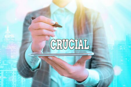 Text sign showing Crucial. Business photo text critical especially in the success or failure of something Stock fotó