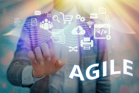 Word writing text Agile. Business photo showcasing particular approach to project management that is utilized in software