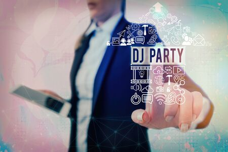 Conceptual hand writing showing Dj Party. Concept meaning demonstrating who introduces and plays recorded popular music on radio