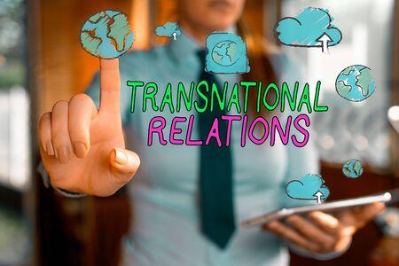 Handwriting text writing Transnational Relations. Conceptual photo International Global Politics Relationship Diplomacy