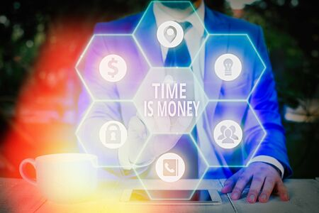 Writing note showing Time Is Money. Business concept for to do things as quickly as posibble and not to waste time