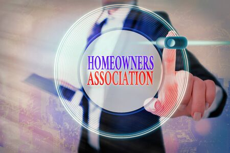 Conceptual hand writing showing Homeowners Association. Concept meaning Organization with fee for upkeeps of Gated Community