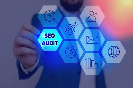 Writing note showing Seo Audit. Business concept for Search Engine Optimization validating and verifying process