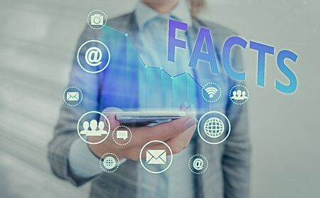 Text sign showing Facts. Business photo showcasing information used as evidence or part of report news article blog