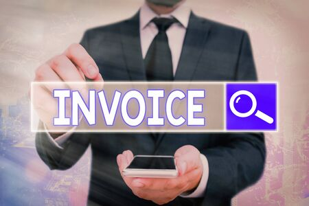 Handwriting text Invoice. Conceptual photo List of goods sent services provided with sums Financial statement Stock Photo