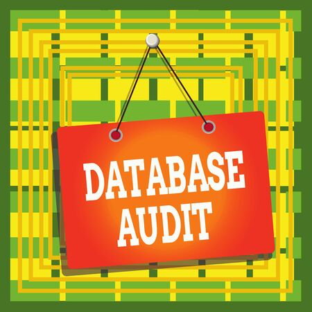 Text sign showing Database Audit. Business photo text auditing of data to assess its quality for a specific purpose Colored memo reminder empty board blank space attach background rectangle Фото со стока