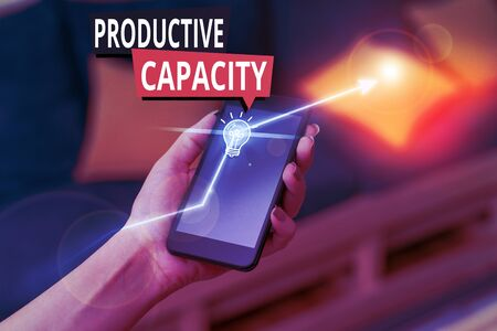 Handwriting text Productive Capacity. Conceptual photo the maximum possible output of a production plant
