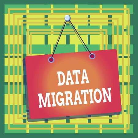 Text sign showing Data Migration. Business photo text process of transferring data between data storage systems Colored memo reminder empty board blank space attach background rectangle