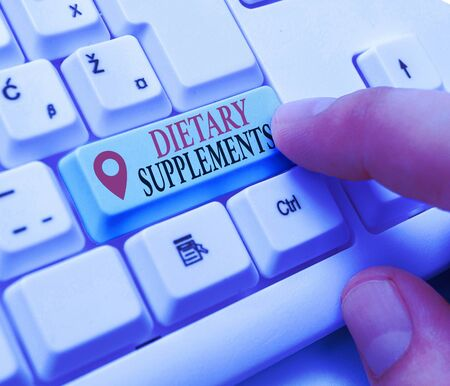 Text sign showing Dietary Supplements. Business photo showcasing Product taken orally intended to supplement ones diet