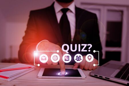 Word writing text Quiz Question. Business photo showcasing test of knowledge as competition between individuals or teams 免版税图像
