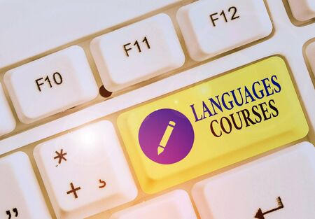 Writing note showing Languages Courses. Business concept for set of classes or a plan of study on a foreign language