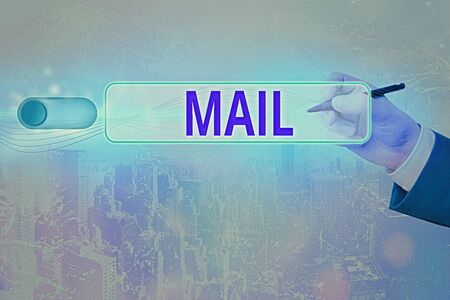 Text sign showing Mail. Business photo text letters or parcel sent or delivered by means of the postal system Banque d'images