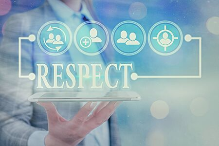 Text sign showing Respect. Business photo text Feeling of deep admiration for someone or something Appreciation Stock Photo
