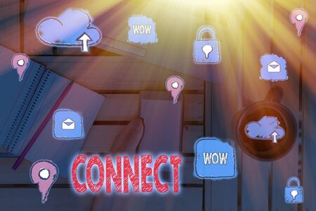 Writing note showing Connect. Business concept for Being together Contact Associate Relate Networking communicate