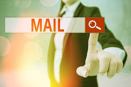 Writing note showing Mail. Business concept for letters or parcel sent or delivered by means of the postal system Banque d'images