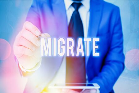 Word writing text Migrate. Business photo showcasing to move or travel from one country place or locality to another