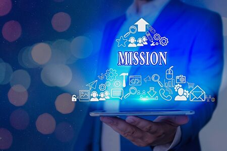 Text sign showing Mission. Business photo showcasing Corporate goal Important Assignment Business purpose and focus Stock Photo