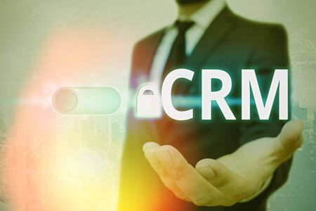 Text sign showing Crm. Business photo text Strategy for managing the Affiliation Interactions of an organization