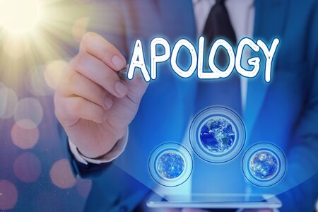 Word writing text Apology. Business photo showcasing a written or spoken expression of one s is regret remorse or sorrow Elements of this image furnished by NASA