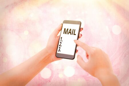Writing note showing Mail. Business concept for letters or parcel sent or delivered by means of the postal system Stock fotó