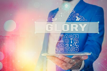 Text sign showing Glory. Business photo showcasing high renown or honor won by notable achievements To take pride