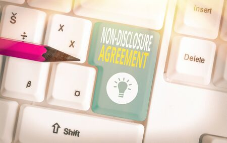 Text sign showing Non Disclosure Agreement. Business photo showcasing Legal Contract Confidential Material or Information