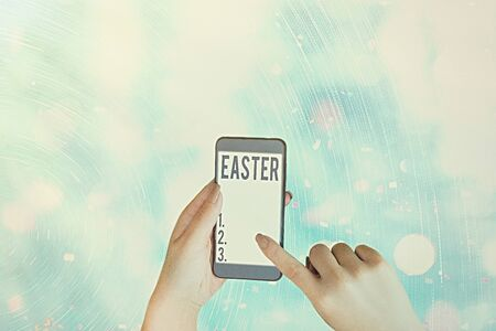 Conceptual hand writing showing Easter. Concept meaning the most important and oldest festival of the Christian Church