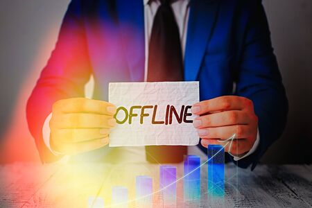Word writing text Offline. Business photo showcasing Not having directly connected to a computer or external network Stock Photo