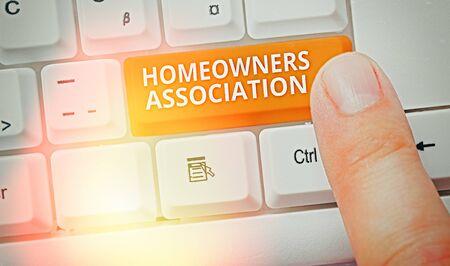 Handwriting text writing Homeowners Association. Conceptual photo Organization with fee for upkeeps of Gated Community 写真素材