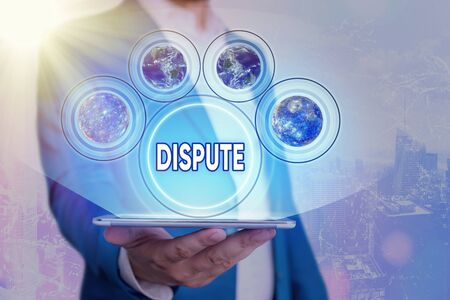 Text sign showing Dispute. Business photo showcasing the serious argument or disagreement between showing or groups