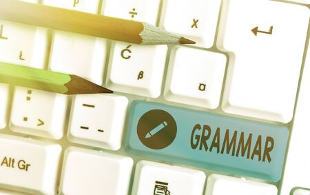 Word writing text Grammar. Business photo showcasing whole system and structure of a language or of languages in general