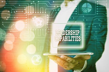 Text sign showing Leadership Capabilities. Business photo showcasing Set of Performance Expectations a Leader Competency