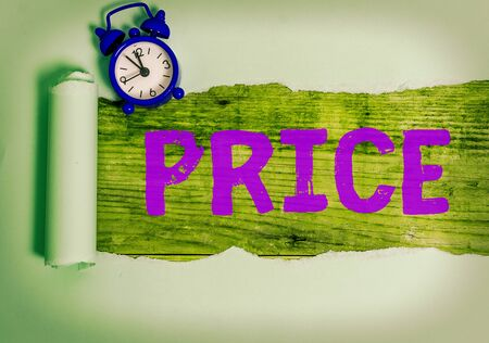Text sign showing Price. Business photo text the amount of money expected or required in payment for something