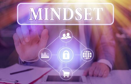 Text sign showing Mindset. Business photo showcasing the mental and emotional attitude that focuses on bright side