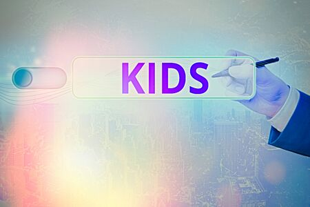Text sign showing Kids. Business photo text a young being below the age of puberty or below the legal age Stock Photo