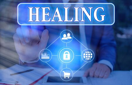 Text sign showing Healing. Business photo showcasing process of making or becoming sound or healthy again Helping injured