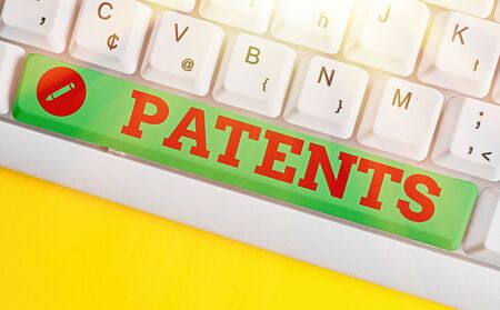Word writing text Patents. Business photo showcasing government authority or licence conferring a right or title