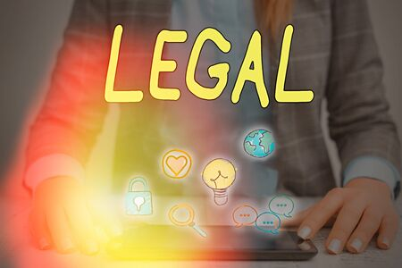 Word writing text Legal. Business photo showcasing Allowable or enforceable by being in conformity with the law Banco de Imagens