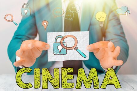 Handwriting text Cinema. Conceptual photo theater where movies are shown for public entertainment Movie theater